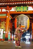 Woman in kimono at Kaminarimon Gate
