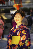 Young Japanese woman wearing kimono in Kyoto.