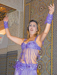 Belly dancer in restaurant, Fes, Morocco.