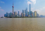 Skyline of Pudong across Huangpu River in Shanghai.