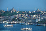 Istanbul's Golden Horn with St. Sophia at top left and Blue Mosque at top right and Sea of Marmara in distance.