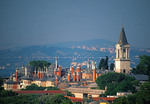 Topkapi Palace overview with Bosphorus and Asia in background in Istanbul, Turkey.