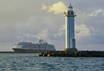 Holland America's cruise ship m/s Westerdam anchored near Ishigaki Ko Lighthouse, island of Ishigaki, Okinawa, Japan.