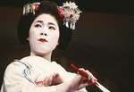 Geisha at Gion Corner in Kyoto performing in Miyako Odori spring dance