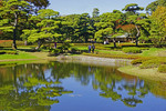 Tokyo's Imperial Palace East Gardens pond in autumn.
