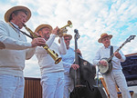 Riverboat Ramblers Dixieland band playing for guests on La Belle Epoque Burgundy Canal luxury barge.