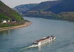 Viking River Cruises long ship Baldur on middle Rhine River heading upstream.