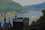 Viking River Cruises ship going up river on the middle Rhine River in Germany viewed from Rheinstein Castle.