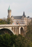 Musee de la Banque and Pont Adolphe in Luxembourg