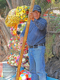 Flower vendor at Xochimilco in Mexico City.