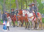 Mexico City mounted police with young horse admirer