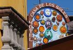 Hotel sign for Casa de Los Soles on Loreto in Centro San Miguel de Allende, Mexico.