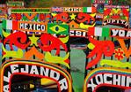 Unique names of trajinaras at dock at floating gardens of Xochimilco, Mexico City.