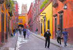 Relox Street near Centro in San Miguel de Allende with cathedral tower in background.