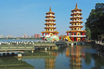 Dragon and Tiger Pagodas on Lotus Lake in Kaohsiung, Taiwan.