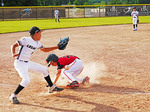 Play at 3rd base, youth  baseball game