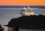 Norwegian Cruise Lines' Serenade of the Seas at dawn in Frenchman Bay at Bay Harbor, Maine, USA.