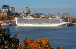 Caribbean Princess cruise ship docked on St. Lawrence River at Quebec City on autumn cruise of French Canada