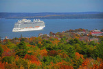 Regal Princess in Frenchman Bay at Bar Harbor, Maine, in autumn,