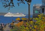 Silverseas Cruises' Silver Wind anchored in Frenchman Bay near the historic Bar Harbor Inn at Bar Harbor, Maine, USA.