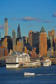 Manhattan Cruise Terminal with MSC Meraviglia mega cruise ship in port.