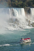 Maid of the Mist American sightseeing boat at American side of Niagara Falls.