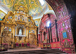 Italian Baroque style La Campillia del Rosario chapel in the Santo Domingo Cathedral in Old Town Quito, Ecuador.