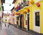 La Ronda street of artisan shops, galleries and restaurants popular with tourists in Old Town Quito, Ecuador.