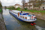La Belle Epoque luxury barge on the Burgundy Canal (Canal de Bourgogne) in Chassignelles, France.