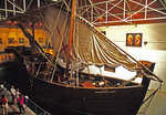 Portuguese lateen-rigged caravel sialing ship replica in Bartolomeu Dias Museum at Mossel Bay, South Africa
