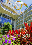 Water slides on top of Symphony of the Seas cruise ship viewed from flowers growing in garden in Central Park.