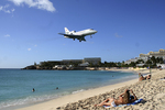 Airplane & People at Beach, St. Martin