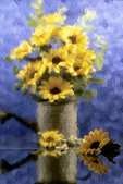 Sunflowers Behind Glass