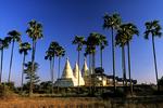 Three Stupas with Trees, Bagan, Myanmar, Burma