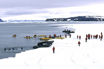 People Near Water on Pack Ice, Antarctica