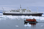 Ship & Zodiac in Pack Ice, Antarctica