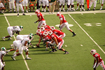 UW-Madison Football Team in Game, Camp Randall, Madison, Wisconsin