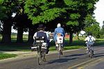 Amish family on bikes, Shipshewana, Indiana