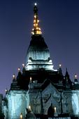 Gawdawpalin Pahto Temple lighted at night, Bagan, Burma, Myanmar