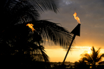 Burning Torches at Sunset, Big Island, Hawaii