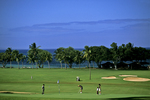 Golfers playing on Maui Course, Hawaii