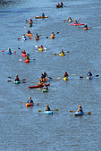 Kayakers on Fox River, Park to Park Paddle, Appleton, Wisconsin