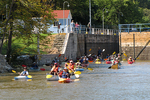 Kayakers Through first Fox River Lock, Appleton, Wisconsin