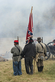 Confederate Troops in Battle, Civil War Reenactment, Wade House, Wisconsin Historic Site, Greenbush, Wisconsin