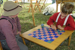 Civil War children playing checkers in Union Camp, Wade House, Wisconsin Historic Site, Greenbush, Wisconsin