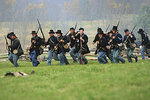 Union Soldiers in Battle, Civil War Reenactment, Wade House, Wisconsin Historic Site, Greenbush, Wisconsin
