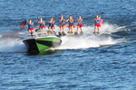 Water skiers and flags, Min-Aqua Bats, Minocqua, Wisconsin