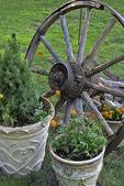 Wooden Wheel and Pots, Sister Bay, Door County, Wisconsin