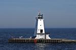 Ludington Lighthouse and People, Ludington, Michigan