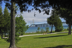 Mackinac Bridge through Trees, Mackinaw City, Michigan